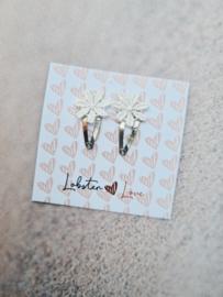 Haarspeldje 2 cm lace wit (2 stuks)