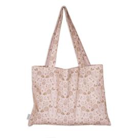 Katoenen tas met bloemen dessin klein
