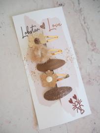 Haarspeldjes 5 cm bloemen goud/naturel (5 stuks)