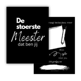 Minikaartje De stoerste Meester zwart - EsvaDesign