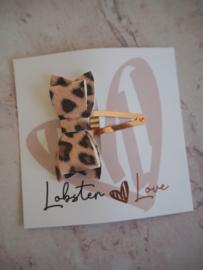 Haarspeldje 5 cm strik tijgerprint lichtroze