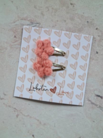 Haarspeldje roze bloemetjes (2 stuks)