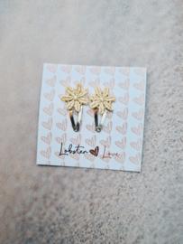 Haarspeldje 2 cm lace lichtgeel ( 2 stuks)
