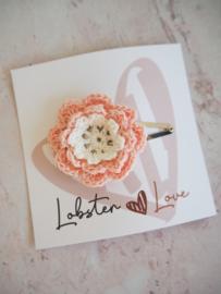 Haarspeldje 5 cm gehaakte bloem roze