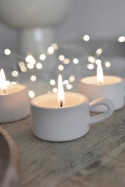 Candle holder van klei wit