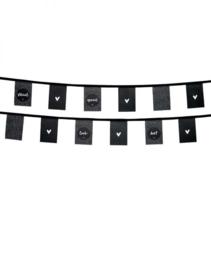 Vlaggenlijn voor buiten zwart stippenpatroon en teksten