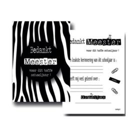 Kaart Bedankt meester zwart wit zebra - EsvaDesign