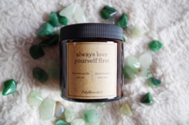 Self-love candle | Always love yourself first | Aventurine | Scented soy gemstone candle