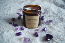 Self-love candle   You are stronger than you think   Amethyst   Scented soy gemstone candle