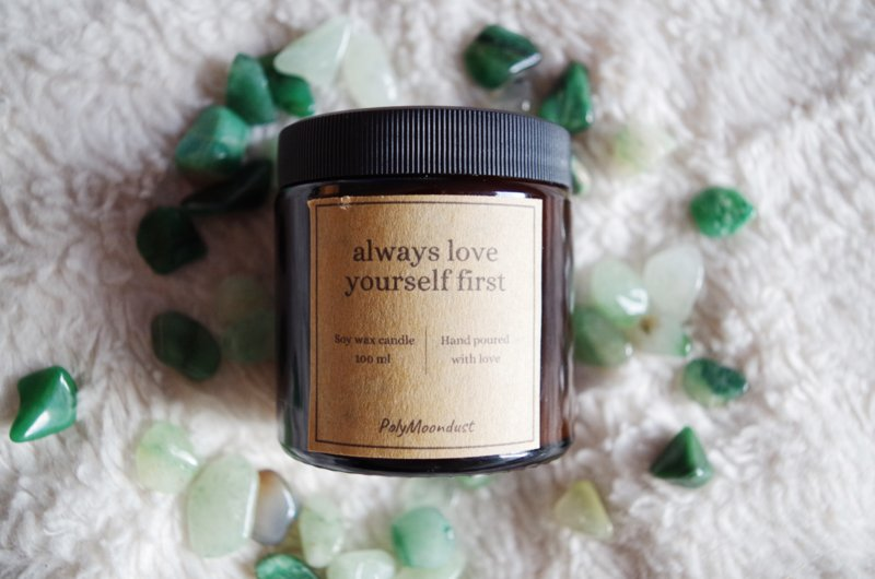 Self-love kaars | Always love yourself first | Aventurijn | Soja edelsteen geur kaars