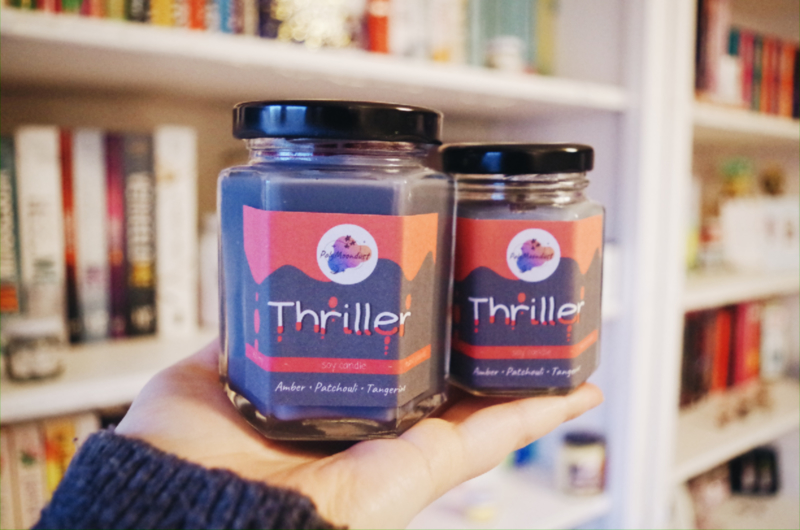 Thriller 160 ml   boekige soja wax kaars