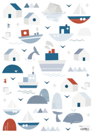 STICKERS BOARD A3 (29,7X42CM) - BOATS AND HOUSES