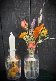 Set van 2 flesjes met droogbloemen
