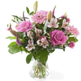 Gemengd boeket roze (Alleen afhalen of bezorgen)
