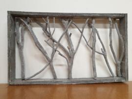 Raamwerk met houtjes grijs