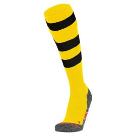 Gele Hummel voetbalsokken met zwarte ringen