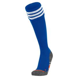 Blauwe Hummel voetbalsokken met witte banden ringen aan de bovenkant