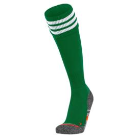 Groene Hummel voetbalsokken met witte banden ringen aan de bovenkant