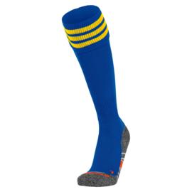 Blauwe Hummel voetbalsokken met gele banden ringen aan de bovenkant