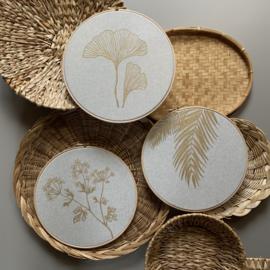 Muurhanger botanisch linnen 25 cm handgeschilderd