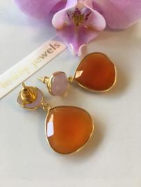 pink chalcedony and carnelian dangle earrings