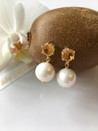 facet cut citrine large white pearl earrings