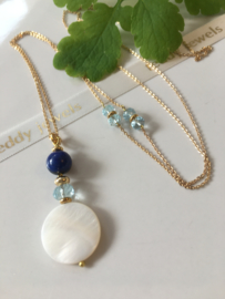 mother of pearl aquamarine lapis lazuli necklace