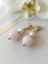 rose quartz white pearl earrings
