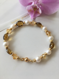 white pearl faceted cognac quartz and faceted citrine bracelet