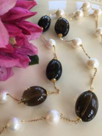 smoky quartz large creamy pearls necklace