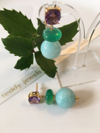 amethyst green onyx amazonite earrings