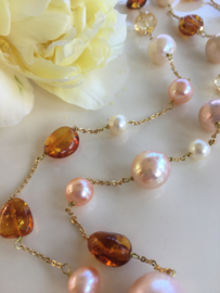 cognac amber, pearl and citrine necklace