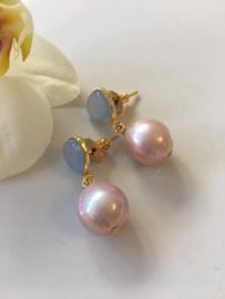 iceblue chalcedony with purple pearl earrings