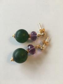 frosted green stone amethyst earrings