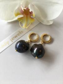 large black baroque pearl earrings