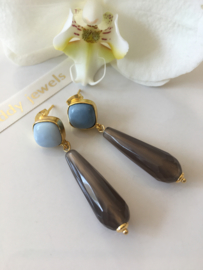 blue opal grey agate earrings