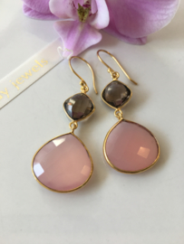 pink chalcedony drop with smoky quartz kite earrings