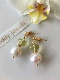 white Edison pearl faceted lemon quartz earrings