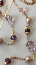 pink purple red miscellaneous gemstones pearl necklace