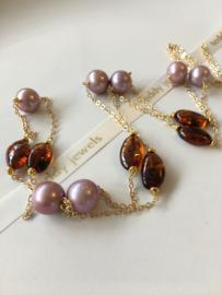 paarse Edison parelketting met cherry bruine amber