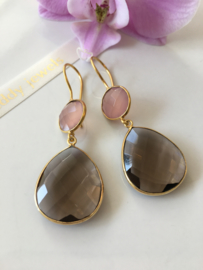 smoky quartz with pink chalcedony (drop and round) earrings