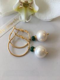 white pearl emerald dangle earrings