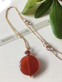 red agate rhodolite garnet pink topaz necklace
