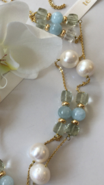 long gold plated large white pearl with aquamarine and green amethyst necklace