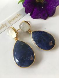 white moonstone sodalite dangle earrings