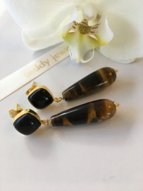 black onyx tiger eye earrings