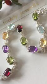 cabochon gemstone bracelet (silver)