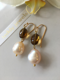 ivory salmon pearl with cognac quartz earrings