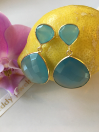 aqua chalcedony and blue chalcedony dangle earrings