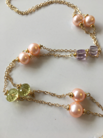 salmon pearls with pink amethyst and lemon quartz necklace